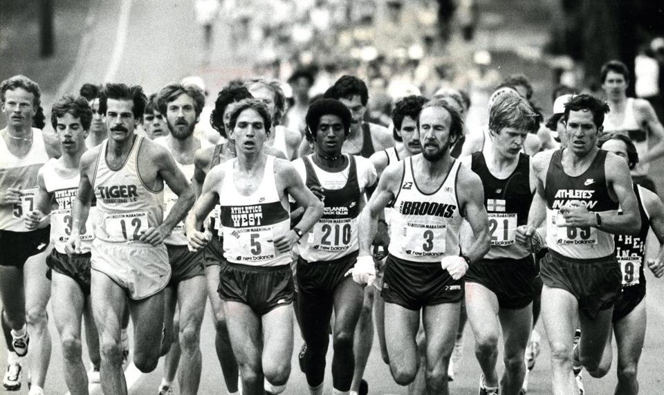 April 18, 1983: The pack at the start of the race in Hopkinton. Grey Meyer, the eventual winner, led wearing number 3. The top five finishers were all Americans: Ron Tabb was second, Benji Durden, third, Ed Mendoza, fourth and Chris Bunyan finished fifth.